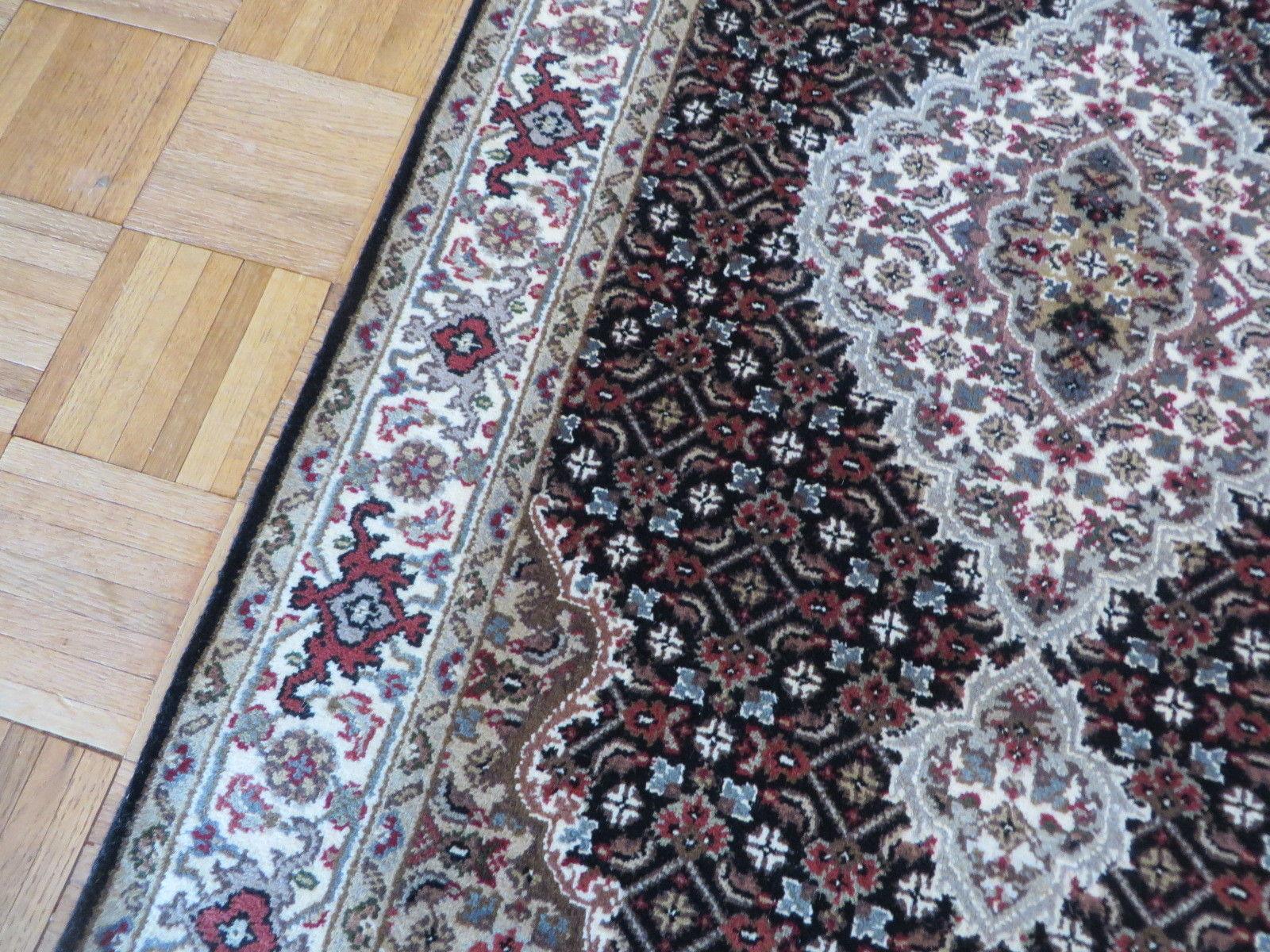 3 X 5 Hand Knotted Black Mahi Tabriz Oriental Rug Wool & Silk G3210
