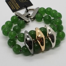 GREEN JADE 925 STERLING YELLOW BURNISHED SILVER BRACELET, STRAND, TWO WIRES image 1