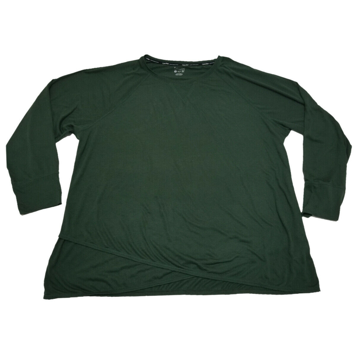 Calvin Klein Performance Plus Size Cross-Over Hem Top Sweatshirt Green 3X MSR...