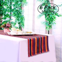LGHome 6 Packs Mexican Serape Table Runners 14x108inch for Mexican Wedding Decor