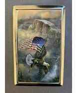 Patriotic Eagle American Flag Silver Metal Cigarette Case RFID Protectio... - $13.81