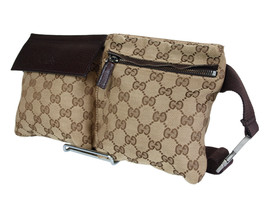 Authentic Gucci GG Pattern Browns Canvas Leather Waist Belt Bag GW1912 - $349.00