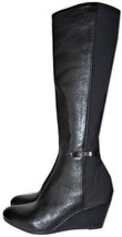 $498 Kate Spade Castina Knee High Boot Black Leather Stretch Wedge Booti... - £125.19 GBP