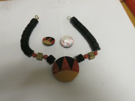 "Costume Jewelry ,Vintage ,Black/Tan/Orange ,Necklace 16"" ,Earrings 11/4""... - $75.00"