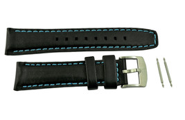 Luminox watch band  Black leather 20mm strap 7250 lady's blue stitches  - $59.95