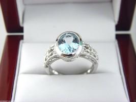 Aquamarin & Diamant Ring in 14k Weiss Gold Größe 7 - $283.37