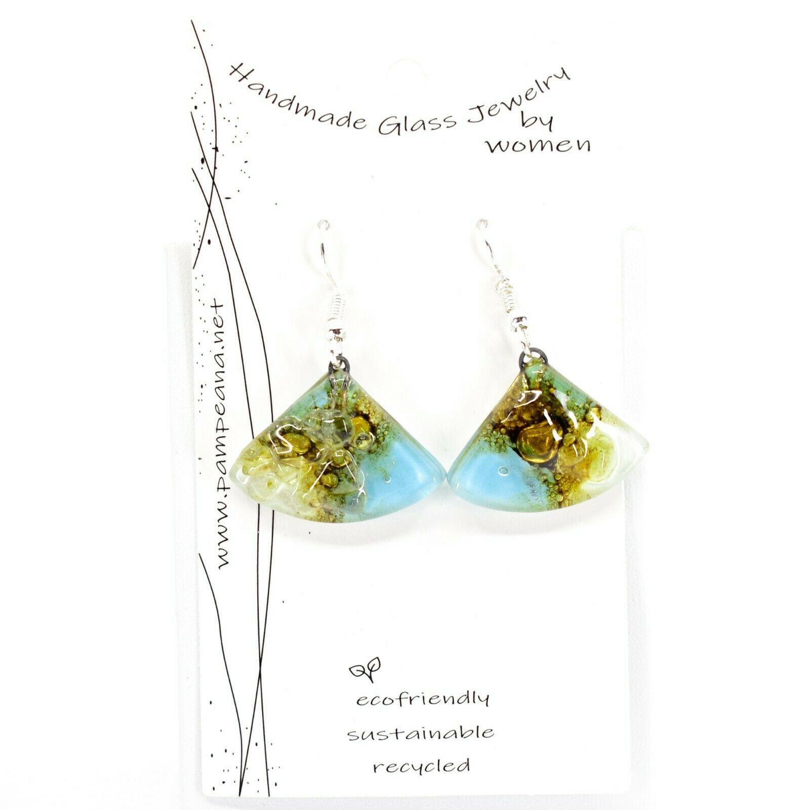 Handmade Recycled Fused Glass Blue & Brown Triangle Hook Earrings Made Ecuador