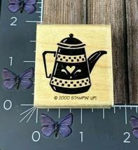 Stampin' Up! Heart Tea Kettle Pot Rubber Stamp 2000 Wood Mount #O34 - $3.71