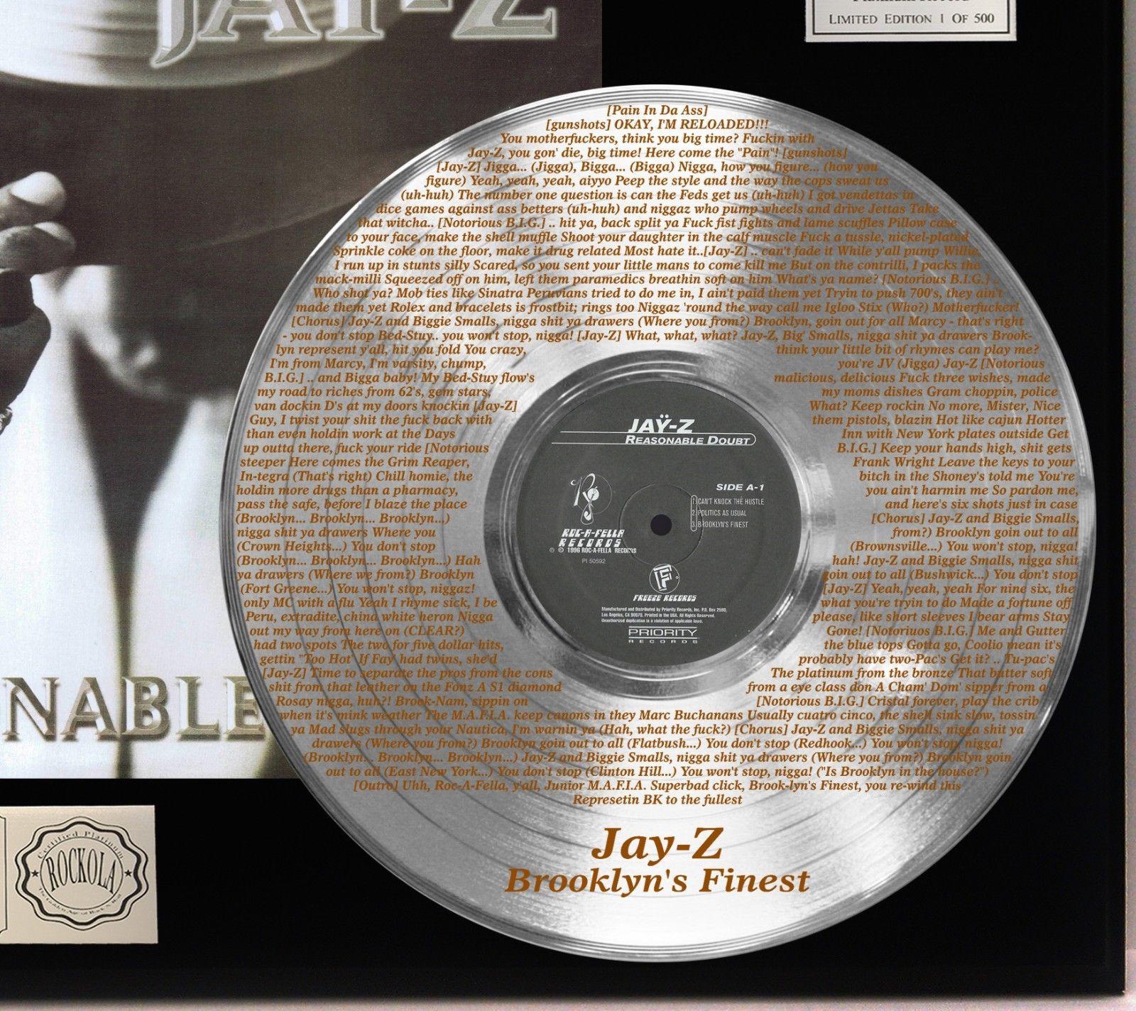 JAY Z PLATINUM LP RECORD DISPLAY ETCHED W LYRICS TO BROOKLYN'S FINEST