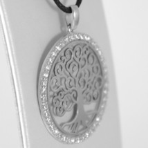 18K WHITE GOLD TREE OF LIFE PENDANT, 1.22 INCHES, ZIRCONIA, MADE IN ITALY image 2