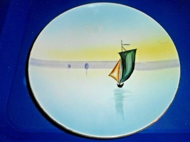 VINTAGE SMALL MEITO CHINA PLATE HAND PAINTED JAPAN SAILBOAT - $9.89