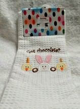 "set of 2 Easter theme kitchen towels ""Got chocolate?"" w/ bunny and chicks - $8.50"