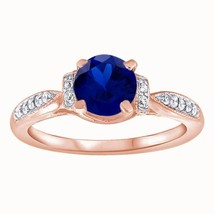 1.25 Ct Round Cut Sapphire Solitaire W/Accents Engagement Ring 14k Rose ... - $78.46