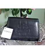 New Coach Compact Wallet Horse & Carriage Black Leather Canvas  40890 $1... - $79.19