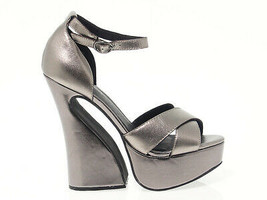 Heeled sandal JEFFREY CAMPBELL STEFANYA in pewter leather - Women's Shoes - £54.32 GBP