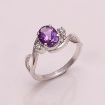 NATURAL AMETHYST 6*8 MM OVAL 925 STERLING SILVER 7 US RING - £12.57 GBP