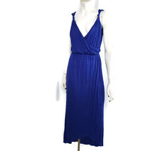 Sabine Maxi Dress Small High Low Grecian Knotted Strap VNeck Split Front Blue - $29.75