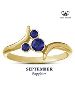 14k Gold Plated Mickey Mouse Ring September Birthstone Round Cut Blue Sa... - £23.35 GBP