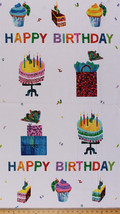 "24"" X 44"" Panel Eric Carle Happy Birthday Words Cotton Fabric Panel D675.25 - $8.99"