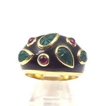 14k Yellow Gold Women's Vintage Color Stone Ring W/ Black Enamel, Emeral... - $1,414.53
