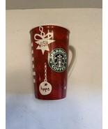 Starbucks Holiday 2009  Bone China Tall 16oz Red Christmas Coffee Mug Cup  - $12.50