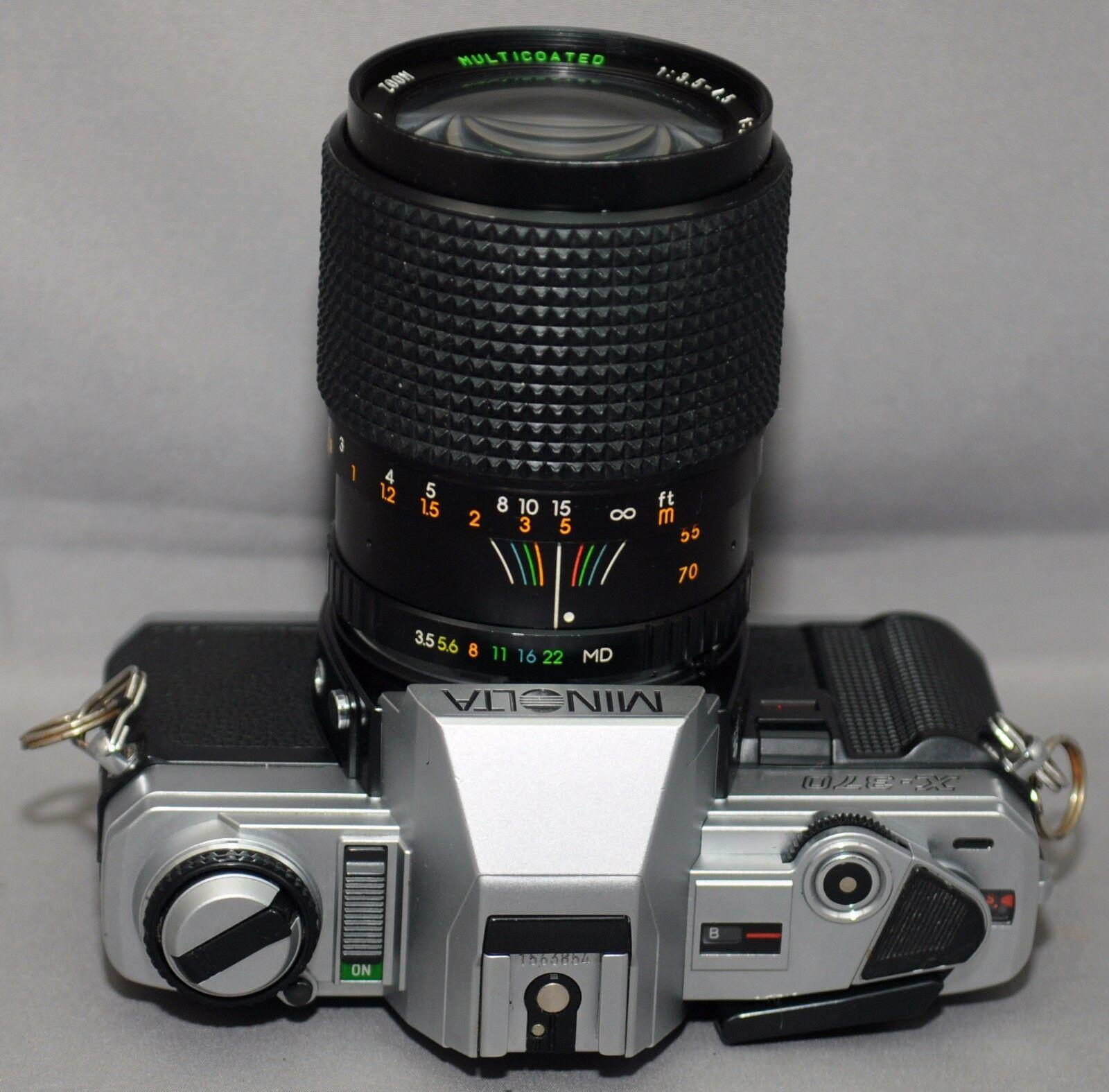 MINOLTA X-370 35mm VINTAGE SLR Film Camera MC F3.5 28-70mm Lens Very CLEAN!