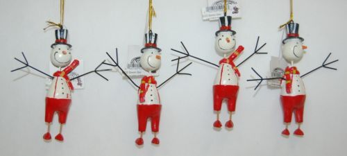 Youngs Incorporated 90322 Four Set Folk Art Snowman Ornaments Red 4 Inch