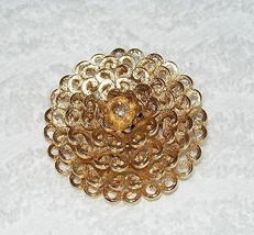 """VINTAGE MONET SIGNED GOLD TONE FLORAL DOME DESIGNED BROOCH PIN 2"""" ROUND GUC - $17.99"""