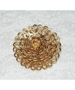 "VINTAGE MONET SIGNED GOLD TONE FLORAL DOME DESIGNED BROOCH PIN 2"" ROUND GUC - $17.99"
