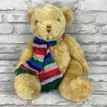 CommonWealth Golden Teddy Bear Plush With Rainbow Scarf 2000 16 Inches - $14.29