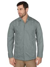 Men's Beach Guayabera Casual Cuban Wedding Button-Up Long Sleeve Dress Shirt image 10