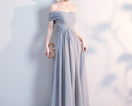 Gray Full Chiffon Bridesmaid Dresses Gray Wedding Bridesmaid Maxi Chiffon Dress  image 2
