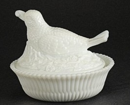 Summit Art Glass Bird with Berry Milk Glass Covered Dish - $28.06