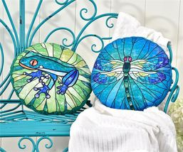 Pond Life Design Freeform Pillow by Giftcraft - Dragonfly or Frog Design!  - £21.41 GBP