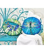 Pond Life Design Freeform Pillow by Giftcraft - Dragonfly or Frog Design!  - $25.11