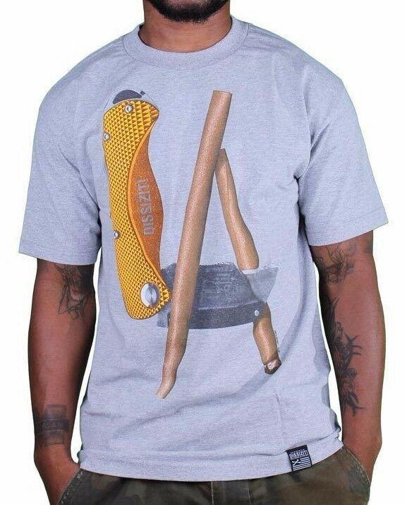 Dissizit! Heather Grey LA Blunt Box Cutter Utility Knife Los Angeles T-Shirt NWT
