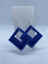 Blue and silver shimmer diamond earrings - $5.50