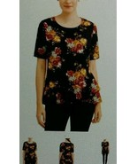 Time and Tru Top XL 16 New Black Red Gold Floral Ruffle Tiered Peplum Sh... - $16.85