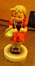 Hummel School Girl With Back Pack And Basket Made In Germany Excellant Mark - $24.75
