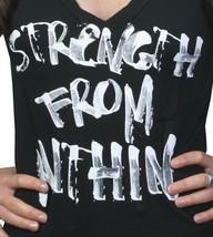 God's Mains Femmes Strength From Within Noir V-Neck Nwt image 2