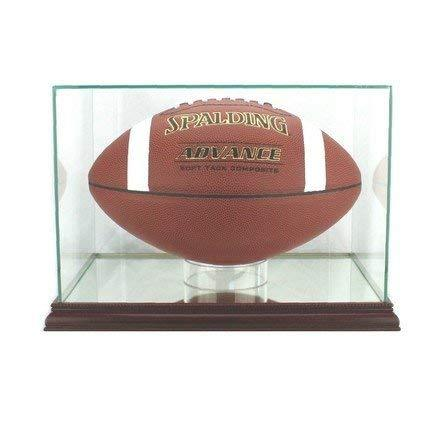 Glass Rectangular Football Display Case with Cherry Wood Molding