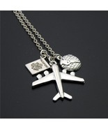 1pc 2017 Wanderlust Passport Earth Airplane Necklaces & Pendants Silver ... - $6.07