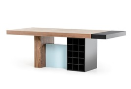 VIG Modrest Aegean Modern Walnut and Teal Dining Table Contemporary - £1,286.54 GBP