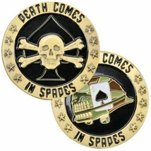 """ARMY DEATH COMES IN SPADES SKULL CROSSBONES 1.75"""" CHALLENGE COIN - $16.24"""