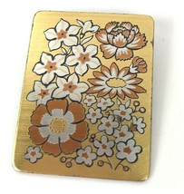 Vintage Reed And Barton Damascene Floral Pin Brooch Pendant Flowers - $14.84