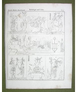 PERSIAN & Mayan Gods Idols Bull Offering Mythology - 1825 Antique Print - $12.15