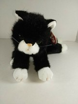 Ty Classic Beanie Buddy BOOTS Plush Black and White Cat Red Bow 1997 Retired - $10.99