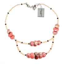 Necklace ANTICA MURRINA VENEZIA With Murano Glass Orange Beige CO960A25 - $66.71