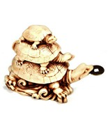 Three Turtle with Coin Statue Wealth Feng Shui Cure 3 Tortoise Health Pr... - $19.95
