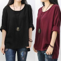 Plus Size Women Long Sleeve Split Casual Loose Cotton Blouse Shirt Tops ... - $25.50